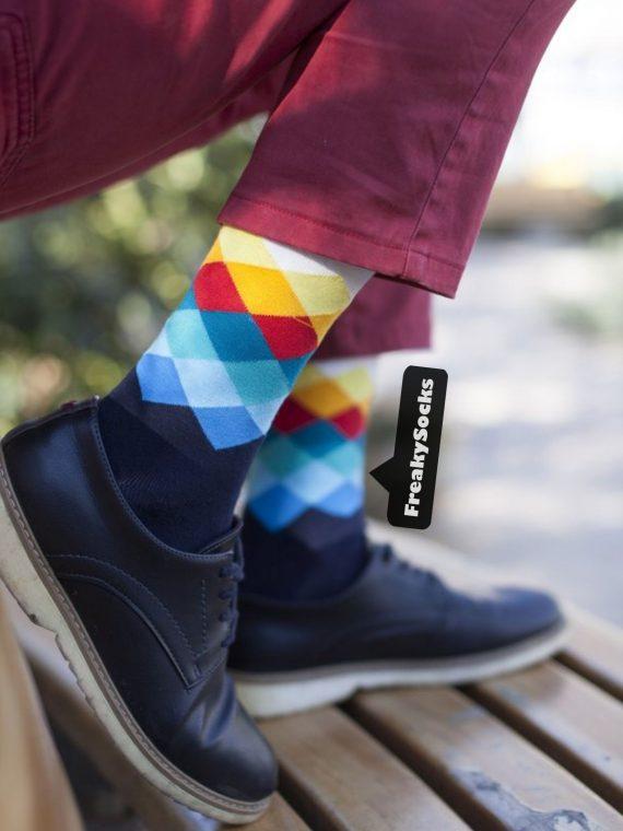 Medias Locas calcetines divertidos de diseño de rombos Freaky Socks
