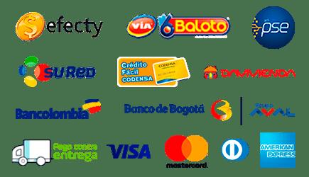 Aceptamos todos los medios de pago, tarjeta de crédito, transferencia bancaria, Baloto y Efecty